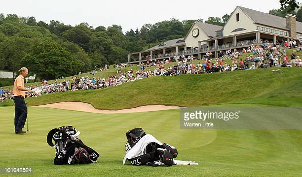 Marcel Siem of Germany acknowledges the crowd on the 18th green during the third round of the Celtic Manor Wales Open on The Twenty Ten Course on...