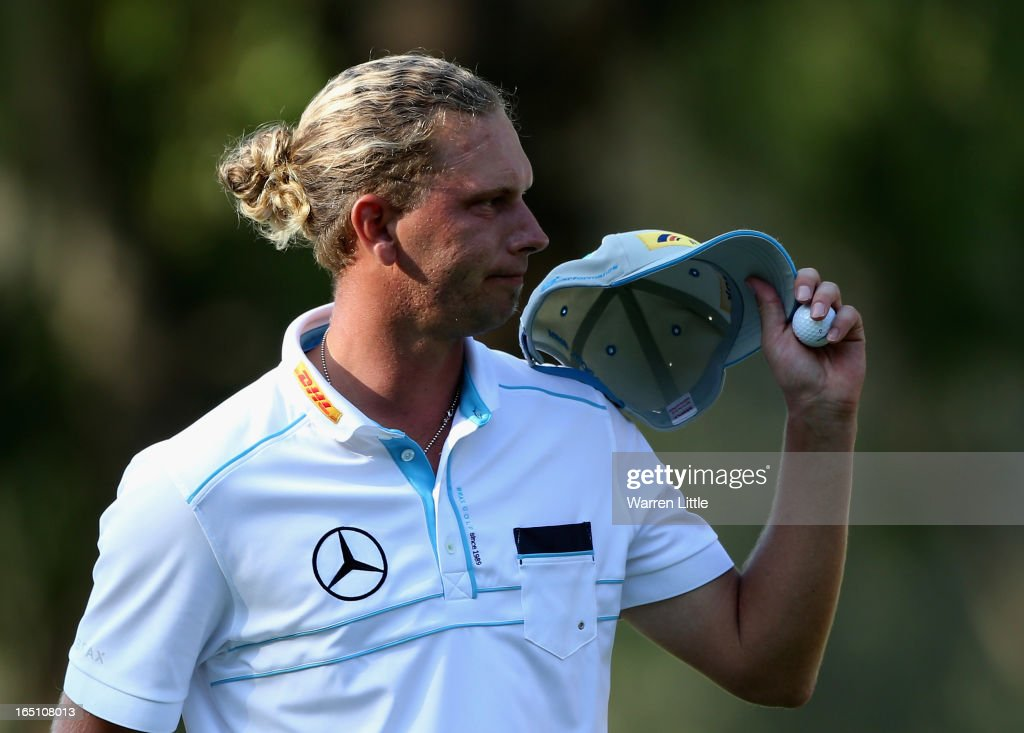 Marcel Siem of Germany acknowledges the crowd on the 18th green during the third round of the Trophee du Hassan II at Golf du Palais Royal on March 30, 2013 in Agadir, Morocco.
