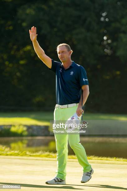 Marcel Siem of Germany celbrates during day two of the Saltire Energy Paul Lawrie Matchplay at Golf Resort Bad Griesbach on August 18 2017 in Passau...