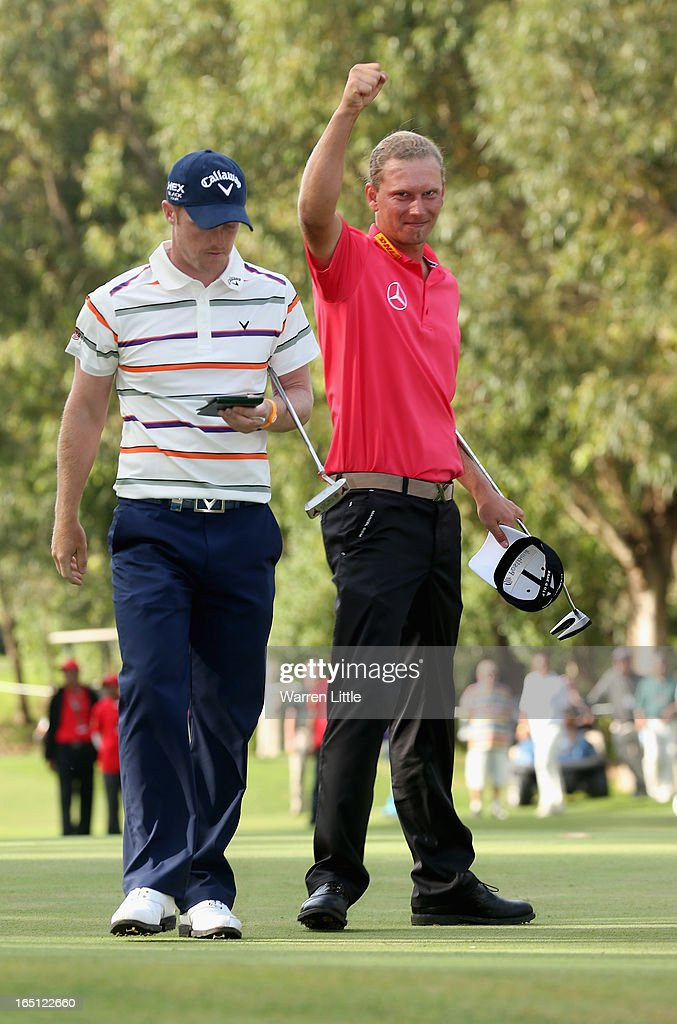 Marcel Siem of Germany celebrates after winning the Trophee du Hassan II Golf on a score of 17 under par at Golf du Palais Royal on March 31 2013 in...