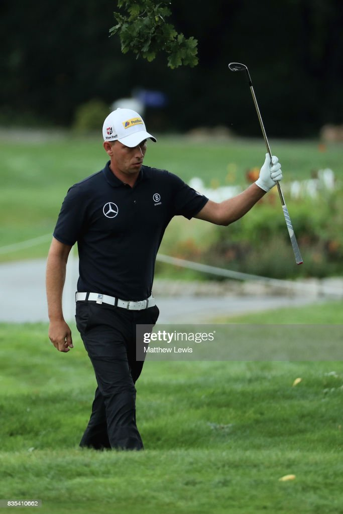 Marcel Siem of Germany celebrates chipping in on the 9th green during day three of the Saltire Energy Paul Lawrie Matchplay at Golf Resort Bad Griesbach on August 19, 2017 in Passau, Germany.