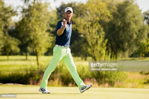Marcel Siem of Germany celebrates during day two of the Saltire Energy Paul Lawrie Matchplay at Golf Resort Bad Griesbach on August 18 2017 in Passau...