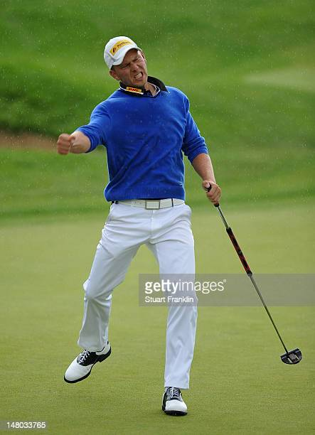 Marcel Siem of Germany celebrates during the final round of the Alstom Open de France at Le Golf National on July 8 2012 in Paris France