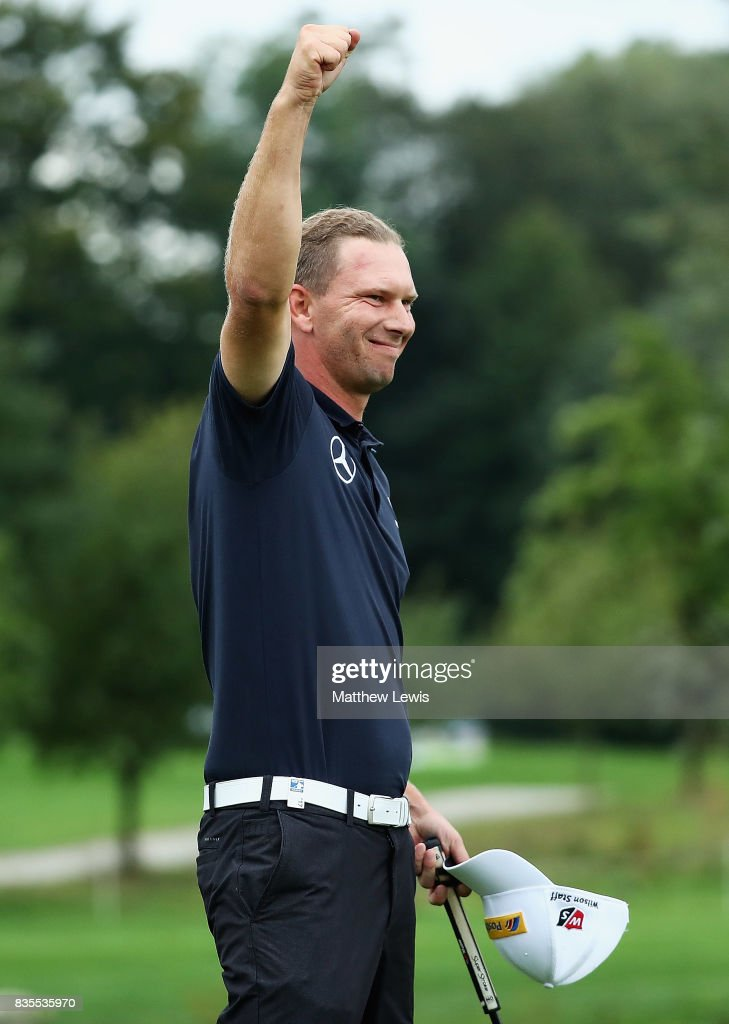 Marcel Siem of Germany celebrates his win against Robert Rock during day three of the Saltire Energy Paul Lawrie Matchplay at Golf Resort Bad Griesbach on August 19, 2017 in Passau, Germany.