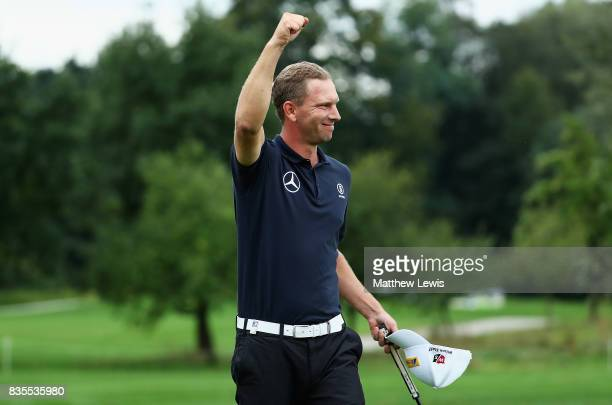Marcel Siem of Germany celebrates his win against Robert Rock during day three of the Saltire Energy Paul Lawrie Matchplay at Golf Resort Bad...