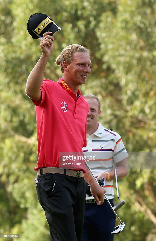Marcel Siem of Germany celebrates winning the Trophee du Hassan II Golf on a score of -17 under par at Golf du Palais Royal on March 31, 2013 in Agadir, Morocco.