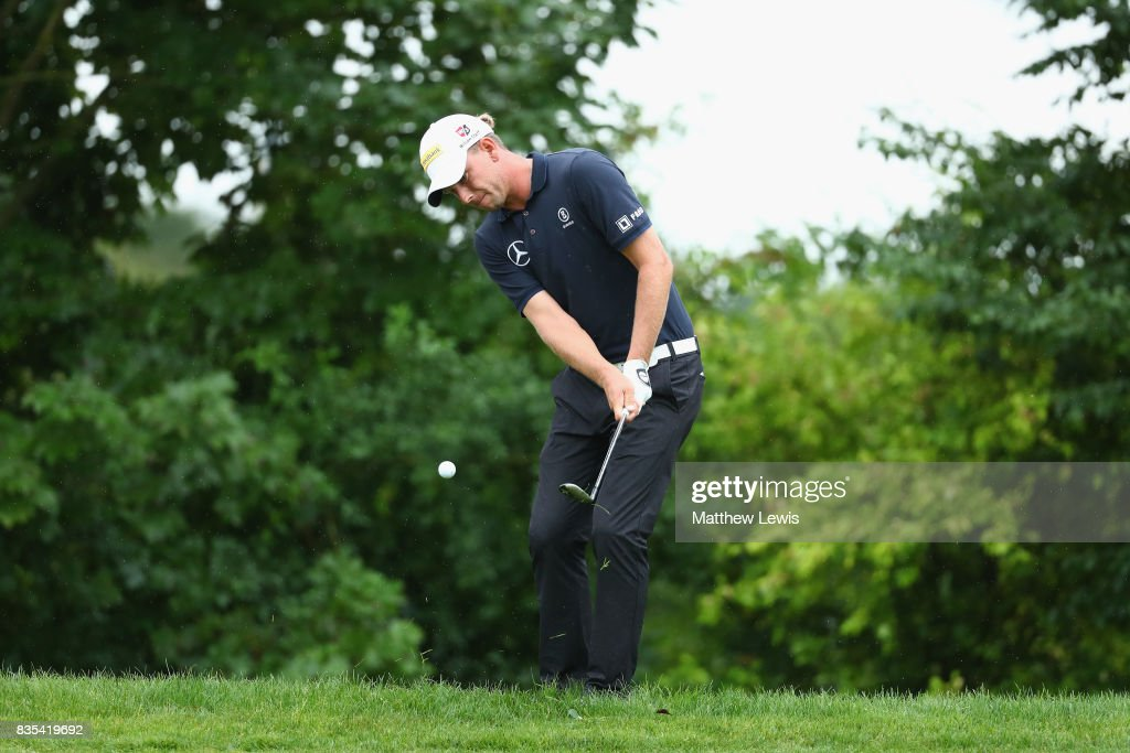 Marcel Siem of Germany chips onto the 13th green during day three of the Saltire Energy Paul Lawrie Matchplay at Golf Resort Bad Griesbach on August 19, 2017 in Passau, Germany.