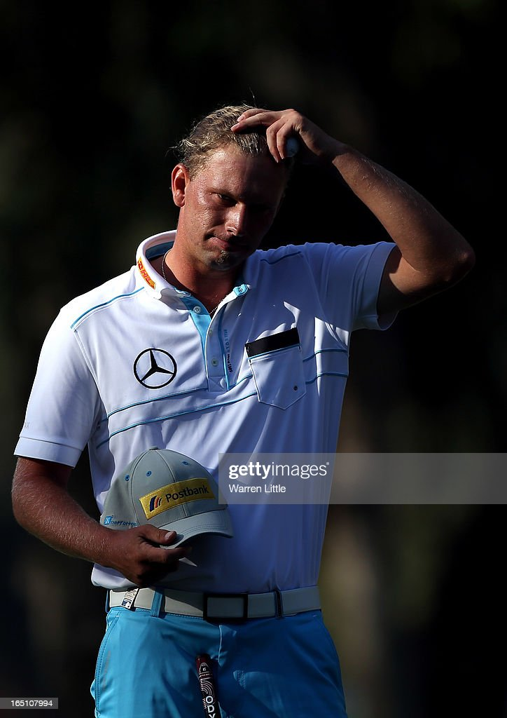 Marcel Siem of Germany is pictured on the 18th green during the third round of the Trophee du Hassan II at Golf du Palais Royal on March 30, 2013 in Agadir, Morocco.