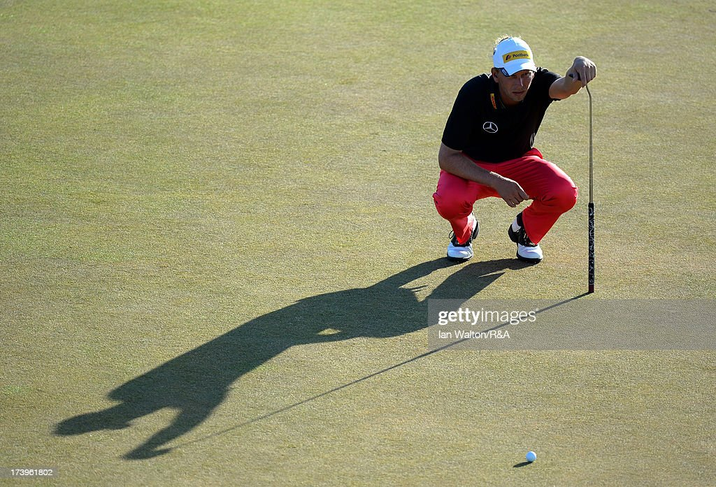 Marcel Siem of Germany lines up a putt during the first round of the 142nd Open Championship at Muirfield on July 18, 2013 in Gullane, Scotland.