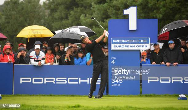 Marcel Siem of Germany plays his first shot on the 1st tee during the Porsche European Open Day Three at Green Eagle Golf Course on July 29 2017 in...