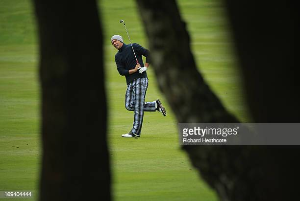 Marcel Siem of Germany plays his second shot on the third hole during the second round of the BMW PGA Championship on the West Course at Wentworth on...