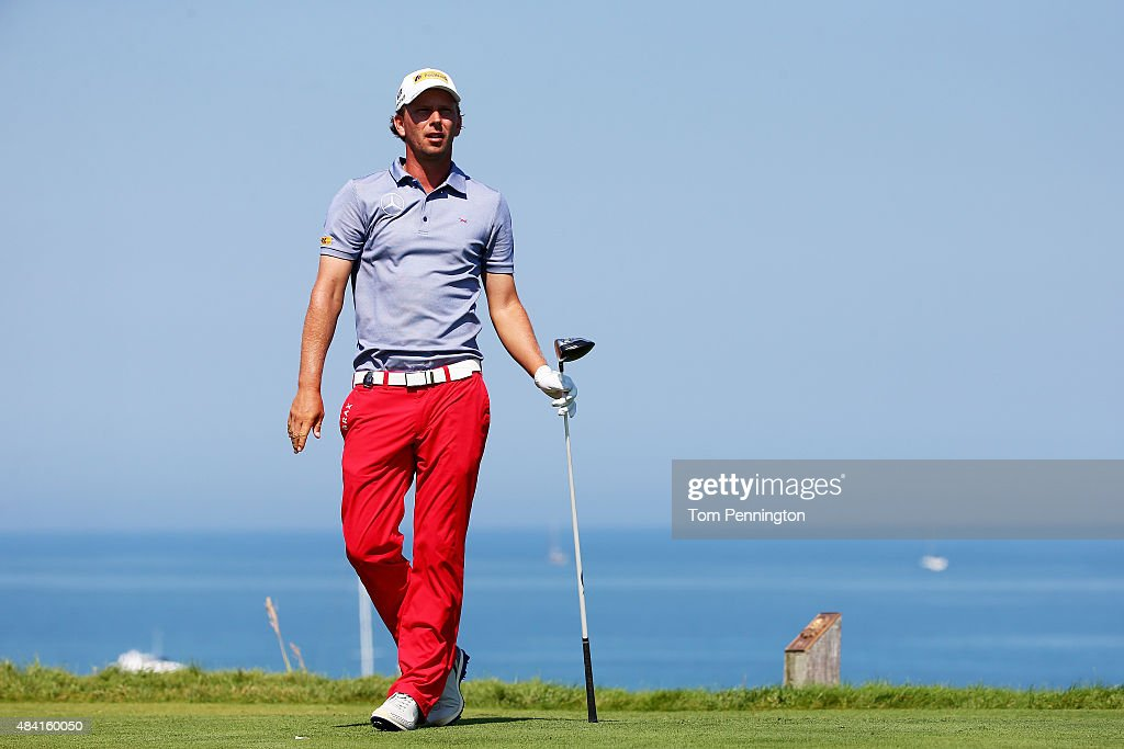 Marcel Siem of Germany plays his shot from the fourth tee during the third round of the 2015 PGA Championship at Whistling Straits at on August 15...
