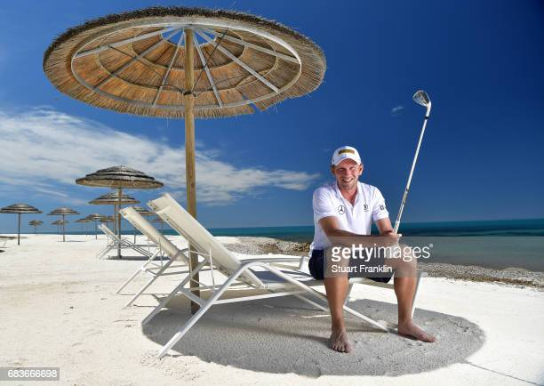 Marcel Siem of Germany poses for a picture on the beach prior to the start of The Rocco Forte Open at Verdura Golf and Spa Resort on May 16 2017 in...