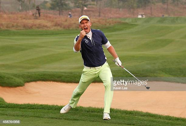 Marcel Siem of Germany reacts after he wins the BMW Masters at Lake Malaren Golf Club on November 2 2014 in Shanghai China