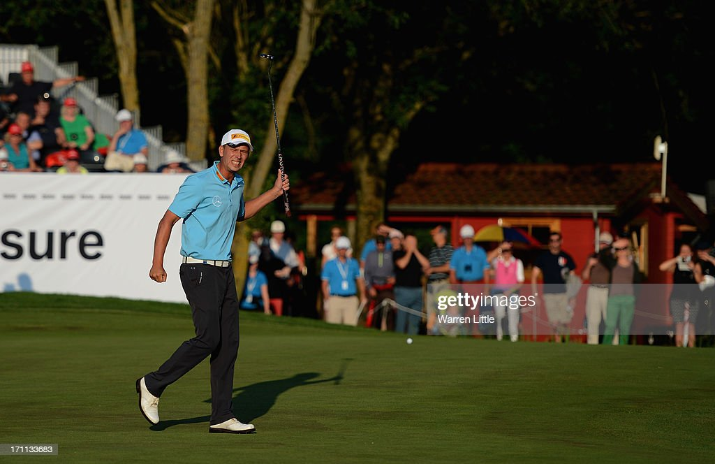 <a gi-track='captionPersonalityLinkClicked' href=/galleries/search?phrase=Marcel+Siem&family=editorial&specificpeople=167180 ng-click='$event.stopPropagation()'>Marcel Siem</a> of Germany reacts to a missed putt on the 18th green during the third round of the BMW International Open at Golfclub Munchen Eichenried on June 22, 2013 in Munich, Germany.