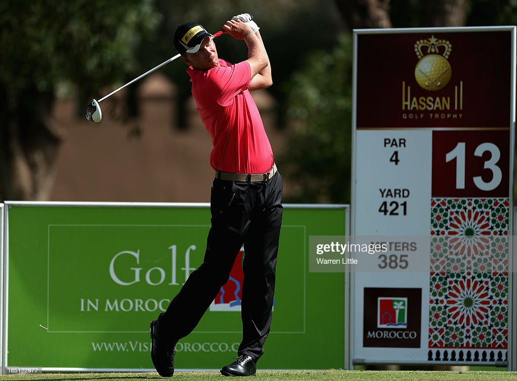 Marcel Siem of Germany tees off on the 13th hole during the final round of the Trophee du Hassan II Golf at Golf du Palais Royal on March 31, 2013 in Agadir, Morocco.