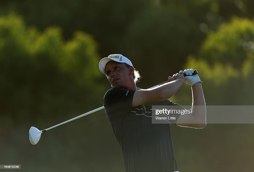 Marcel Siem of Germany tees off on the 18th hole during the first round of the Trophee du Hassan II Golf at Golf du Palais Royal on March 28 2013 in...