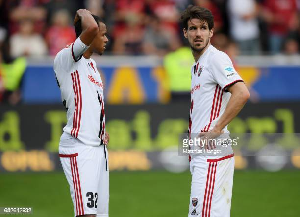 Marcel Tisserand of Ingolstadt and Romain Bregerie of Ingolstadt show their disappointment after the Bundesliga match between SC Freiburg and FC...