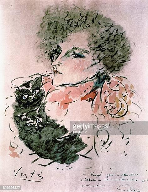 Marcel VertesFrench schoolPortrait of French writer Colette20th centuryWatercolourParis Bibliotheque Nationale de France