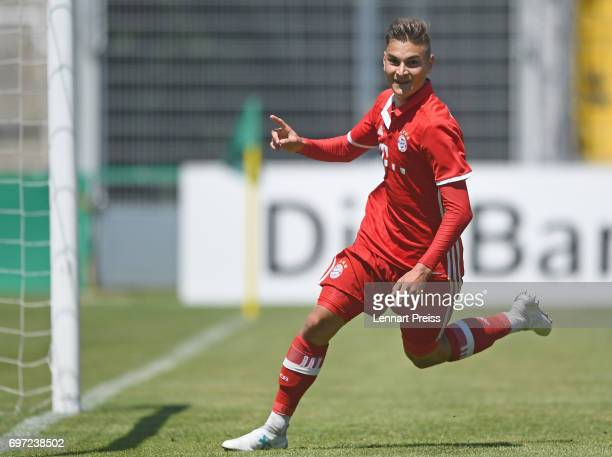 Marcel Zylla of FC Bayern Muenchen celebrates scoring his team's first goal during the B Juniors German Championship Final between FC Bayern Muenchen...