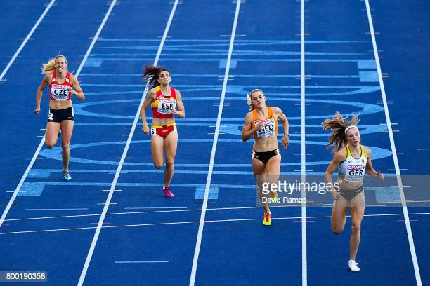 Marcela Pirkova of Czech Republic Laura Bueno of Spain Lisanne de Witte of Netherlands and Laura Muller of Germany compete in the Women's 400m heat 1...