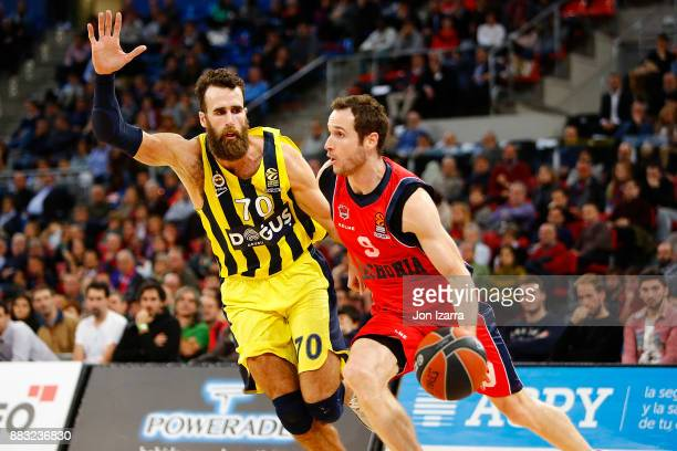 Marcelinho Huertas #9 of Baskonia Vitoria Gasteiz in action during the 2017/2018 Turkish Airlines EuroLeague Regular Season game between Baskonia...