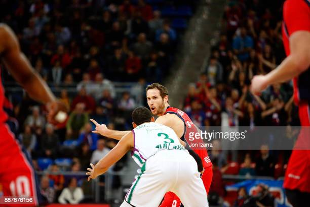 Marcelinho Huertas #9 of Baskonia Vitoria Gasteiz in action during the 2017/2018 Turkish Airlines EuroLeague Regular Season Round 11 game between...