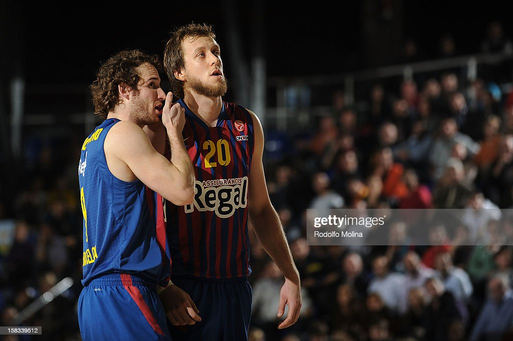 Marcelinho Huertas, #9 of FC Barcelona Regal and Joe Ingles, #20 in action during the 2012-2013 Turkish Airlines Euroleague Regular Season Game Day 10 between FC Barcelona Regal v CSKA Moscow at Palau Blaugrana on December 13, 2012 in Barcelona, Spain.