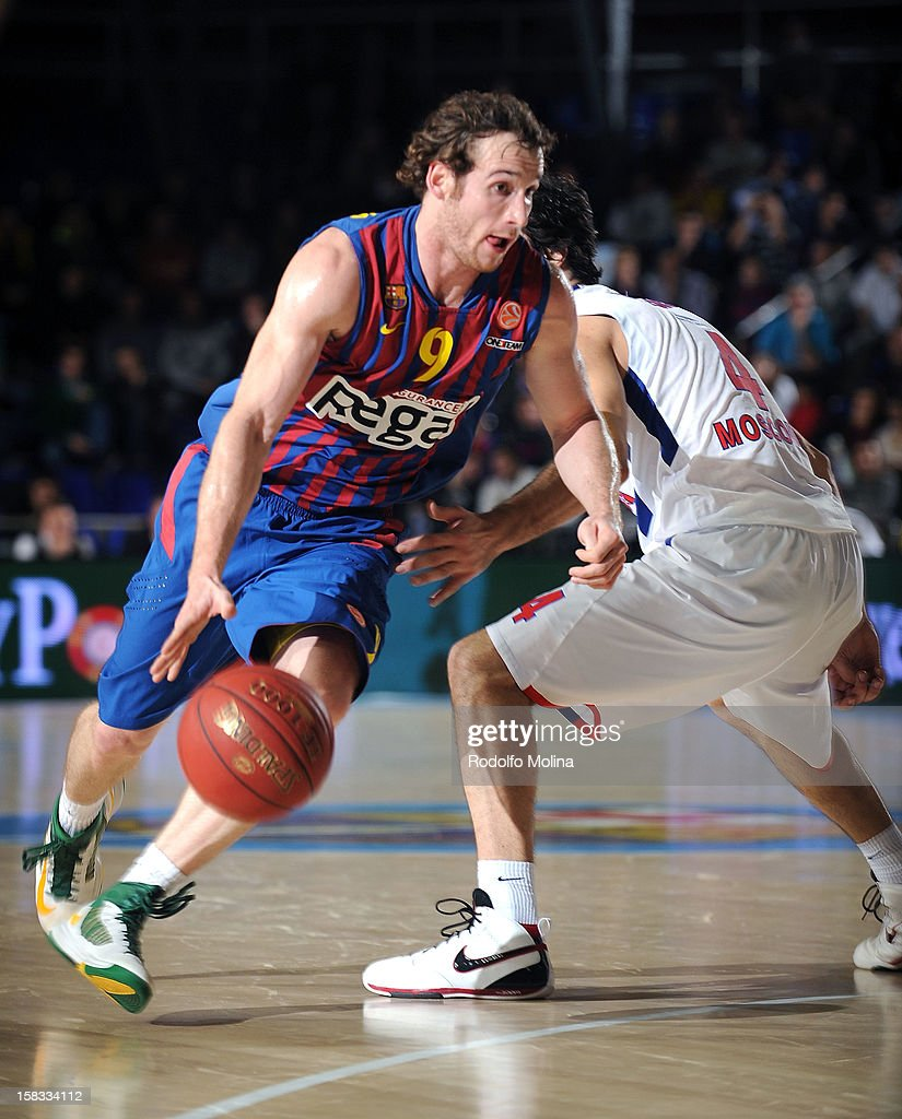 Marcelinho Huertas, #9 of FC Barcelona Regal in action during the 2012-2013 Turkish Airlines Euroleague Regular Season Game Day 10 between FC Barcelona Regal v CSKA Moscow at Palau Blaugrana on December 13, 2012 in Barcelona, Spain.