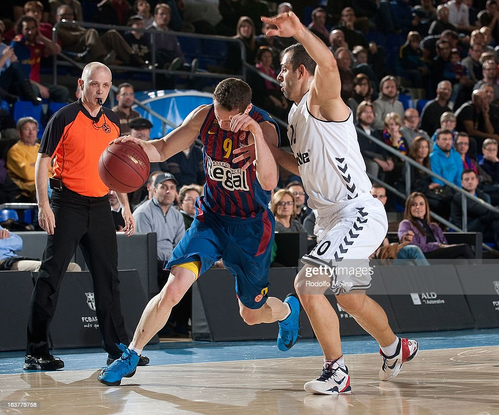 Marcelinho Huertas, #9 of FC Barcelona Regal in action during the 2012-2013 Turkish Airlines Euroleague Top 16 Date 11 between FC Barcelona Regal v Besiktas JK Istanbul at Palau Blaugrana on March 15, 2013 in Barcelona, Spain.