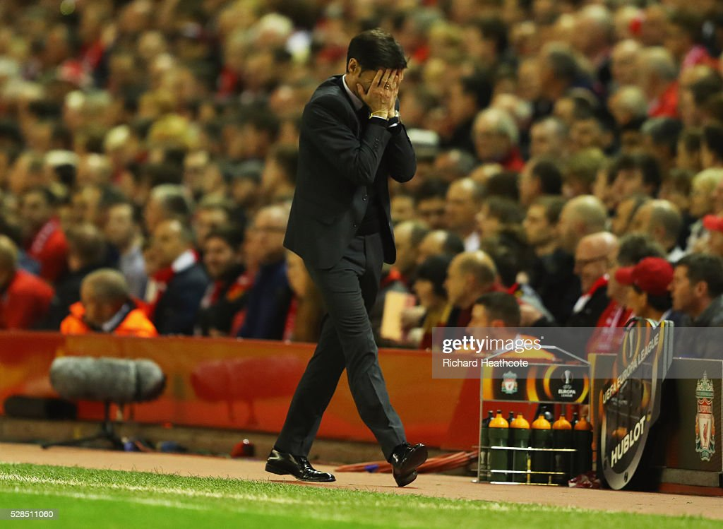 Marcelino Garcia Toral head coach of Villarreal reacts during the UEFA Europa League semi final second leg match between Liverpool and Villarreal CF at Anfield on May 5, 2016 in Liverpool, England.