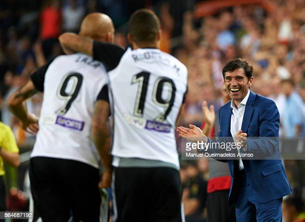 Marcelino Garcia Toral Manager of Valencia CF celebrates his team's second goal during the La Liga match between Valencia and Sevilla at Estadio...