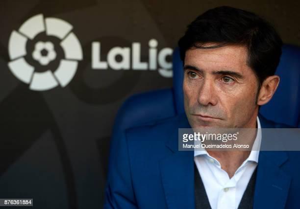 Marcelino Garcia Toral Manager of Valencia CF looks on prior to the La Liga match between Espanyol and Valencia at CornellaEl Prat stadium on...
