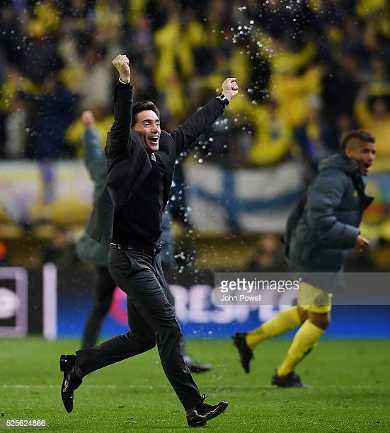 Marcelino Garcia Toral manager of Villarreal celebrates after Adrian Lopez of Villarreal scores the goal during the UEFA Europa League Semi Final...