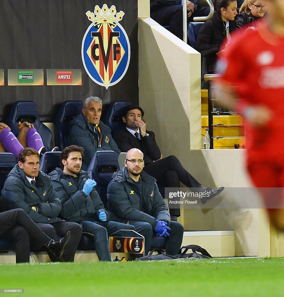 Marcelino Garcia Toral manager of Villarreal during the UEFA Europa League Semi Final: First Leg match between Villarreal CF and Liverpool on April 28, 2016 in Villarreal, Spain.
