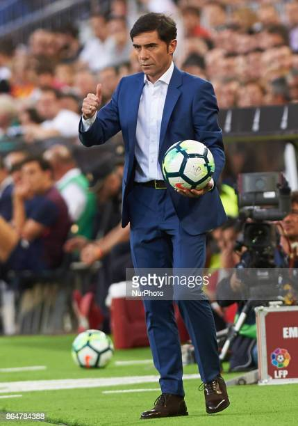 Marcelino Garcia Toral of Valencia CF reacts during the La Liga match between Valencia CF and Sevilla FC at Estadio Mestalla on october 21 2017 in...