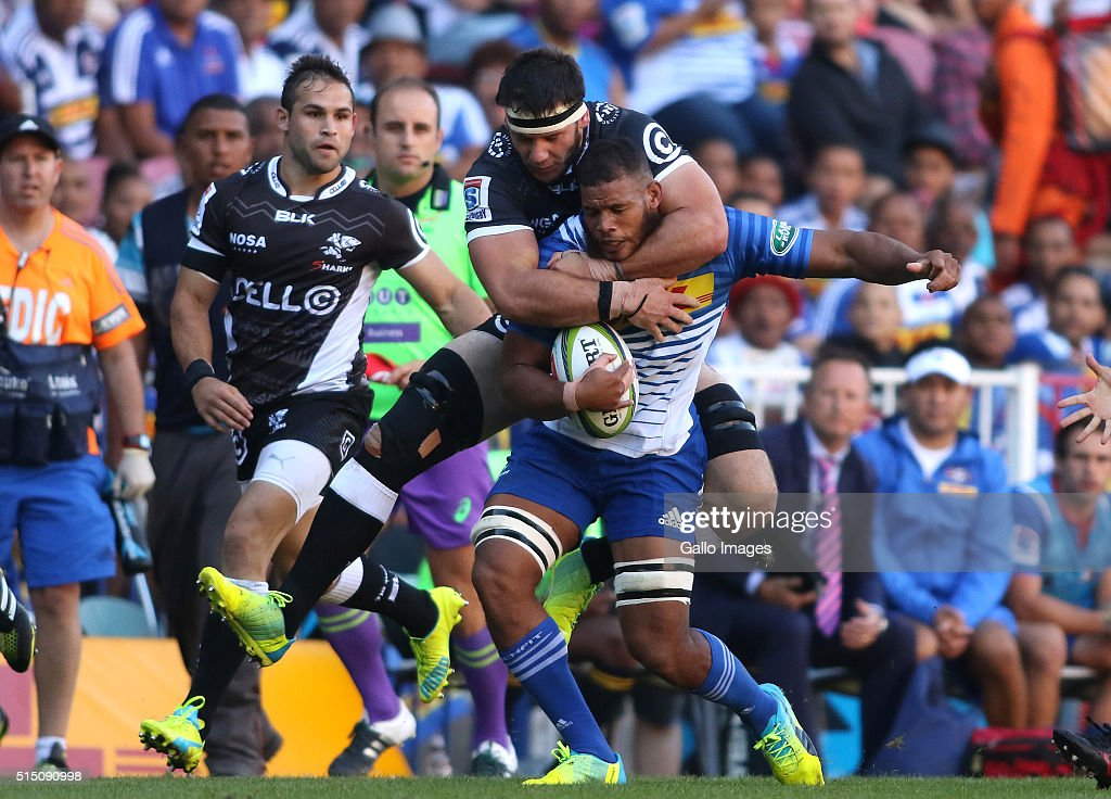 <a gi-track='captionPersonalityLinkClicked' href=/galleries/search?phrase=Marcell+Coetzee&family=editorial&specificpeople=7755005 ng-click='$event.stopPropagation()'>Marcell Coetzee</a> of the Sharks tackles Nizaam Carr of the Stormers high during the 2016 Super Rugby match between DHL Stormers and Cell C Sharks at DHL Newlands on March 12, 2016 in Cape Town, South Africa.