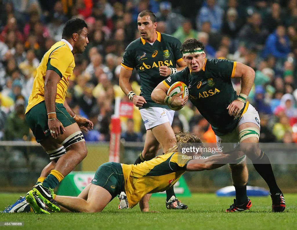 <a gi-track='captionPersonalityLinkClicked' href=/galleries/search?phrase=Marcell+Coetzee&family=editorial&specificpeople=7755005 ng-click='$event.stopPropagation()'>Marcell Coetzee</a> of the Springboks is tackled during The Rugby Championship match between the Australian Wallabies and the South African Springboks at Patersons Stadium on September 6, 2014 in Perth, Australia.