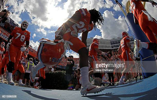 Marcell Harris of the Florida Gators takes the field during a game against the Kentucky Wildcats at Ben Hill Griffin Stadium on September 10 2016 in...