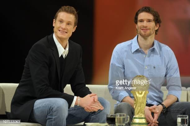 Marcell Jansen and Arne Friedrich attend the '2010 Der Grosse Jahresrueckblick' TV Show on December 1 2010 in Flensburg Germany