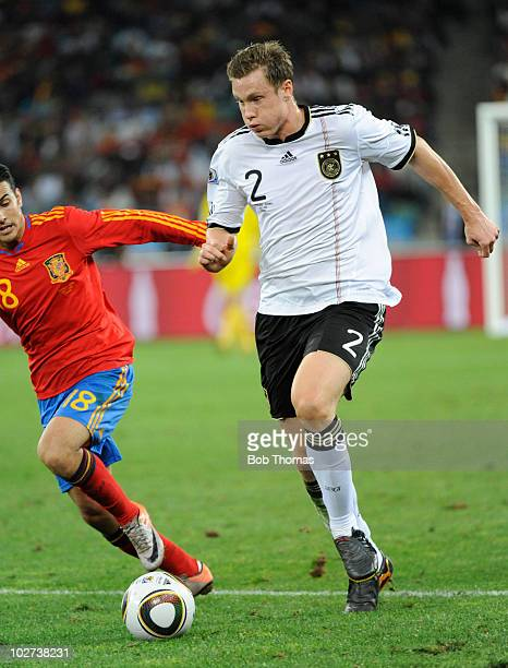 Marcell Jansen of Germany during the 2010 FIFA World Cup South Africa Semi Final match between Germany and Spain at Durban Stadium on July 7 2010 in...