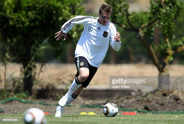 Marcell Jansen of Germany plays the ball during the German National Team training session at Verdura Golf and Spa Resort on May 16 2010 in Sciacca...
