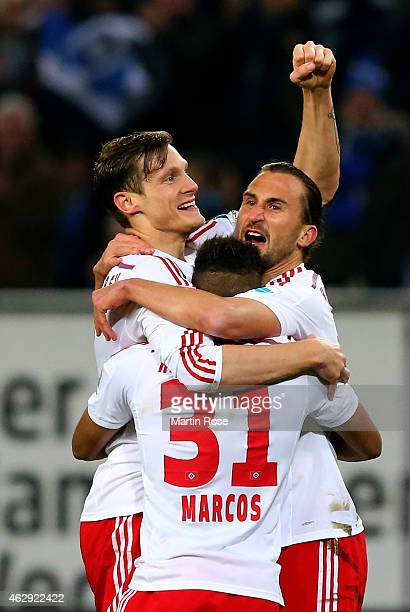 Marcell Jansen of Hamburg celebrate with his team mates after he scores the 2nd goal during the Bundesliga match between Hamburger SV and Hannover 96...