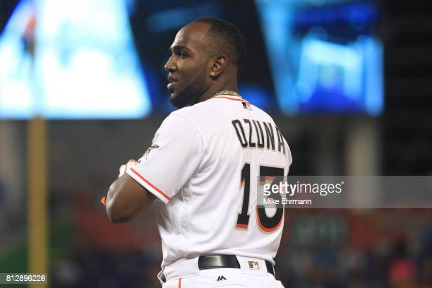 Marcell Ozuna of the Miami Marlins and the National League reacts during the 88th MLB AllStar Game at Marlins Park on July 11 2017 in Miami Florida