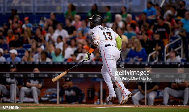 Marcell Ozuna of the Miami Marlins at bat during the game against the Atlanta Braves at Marlins Park on October 1 2017 in Miami Florida