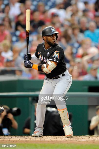 Marcell Ozuna of the Miami Marlins bats against the Washington Nationals at Nationals Park on August 10 2017 in Washington DC