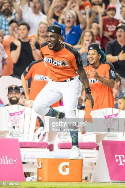 Marcell Ozuna of the Miami Marlins during the TMobile Home Run Derby at Marlins Park on July 10 2017 in Miami Florida