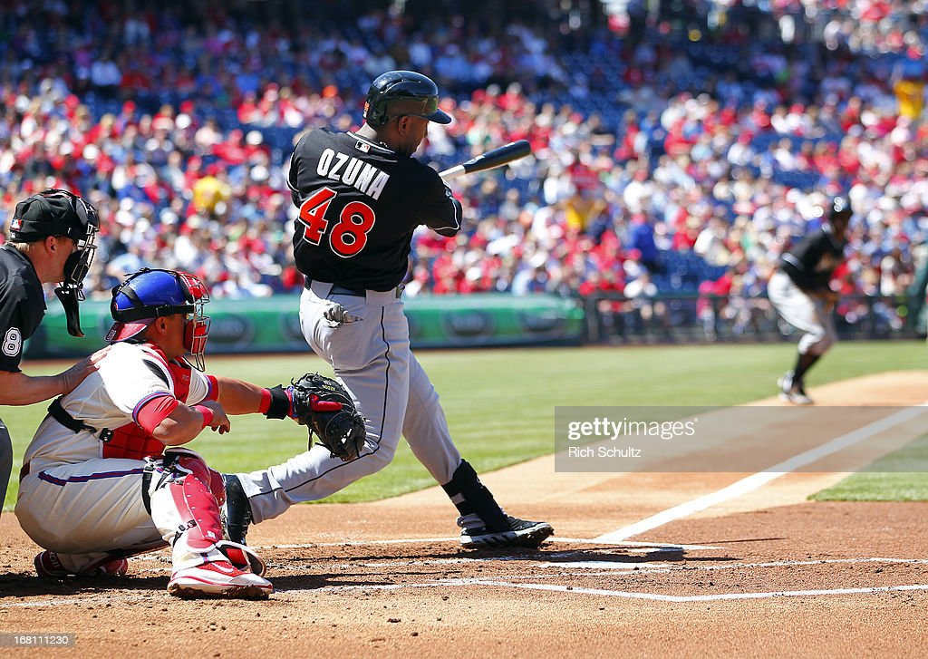 Marcell Ozuna #48 of the Miami Marlins hits a bases loaded double knocking in three runs in the first inning against the Philadelphia Phillies in a MLB baseball game on May 5, 2013 at Citizens Bank Park in Philadelphia, Pennsylvania.