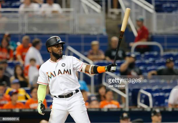 Marcell Ozuna of the Miami Marlins hits against the New York Mets at Marlins Park on September 20 2017 in Miami Florida