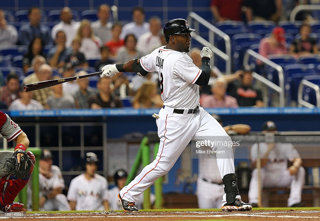 <a gi-track='captionPersonalityLinkClicked' href=/galleries/search?phrase=Marcell+Ozuna&family=editorial&specificpeople=10358366 ng-click='$event.stopPropagation()'>Marcell Ozuna</a> #48 of the Miami Marlins hits during a game against the Philadelphia Phillies at Marlins Park on May 20, 2013 in Miami, Florida.
